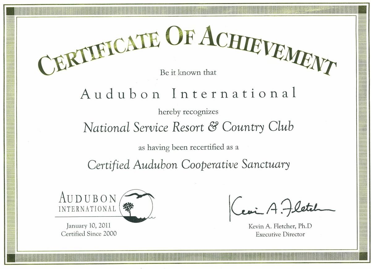 Certified Audubon Cooperative Sanctuary National Service Resort