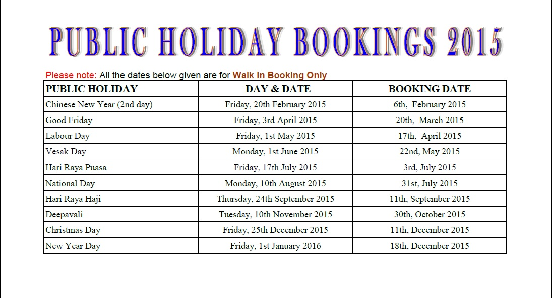 Public Holiday Golf Bookings for 2015 | National Service Resort ...